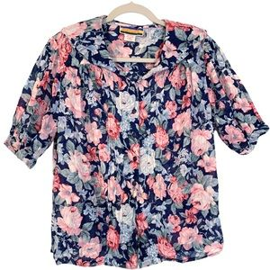 Bryn Connelly Floral Round Neck 80s Vintage Blouse